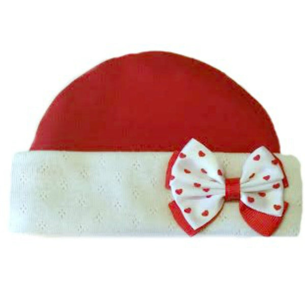 Newborn and Preemie Baby Girl Red Hat with Heart Bow