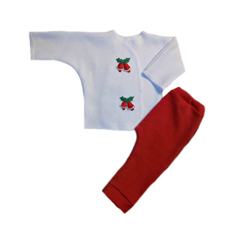 Newborn and Preemie Holly Bells Christmas Baby Clothing Set