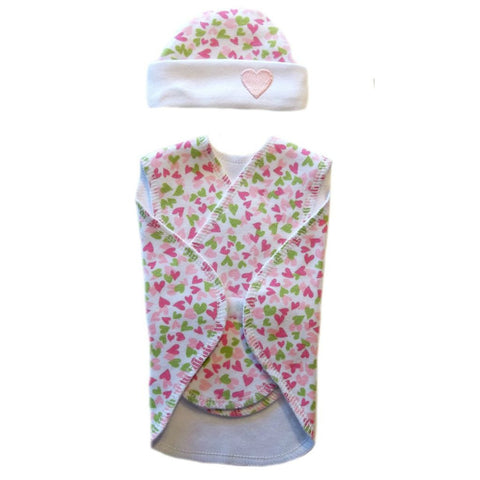 Preemie Baby Girl Joyful Hearts Wrap and Hat Set. Premature babies and NICU micro preemies.