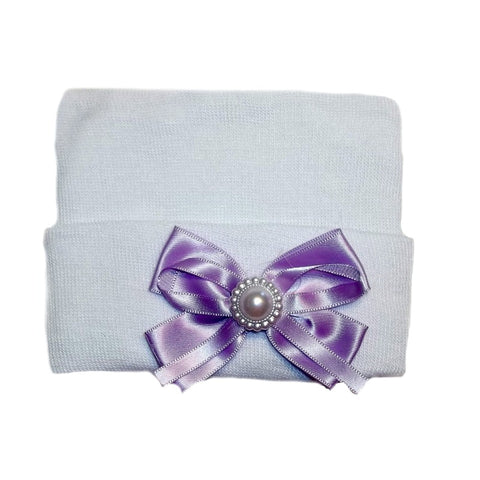 White Baby Girl Hospital Hat with Lavender Bow and Pearl