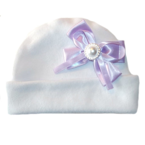 White Baby Girl Hat Big Lavender Pearl Bow!