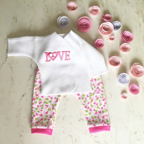 Joyful LOVE and Hearts 2 Piece Baby Girl Clothing Outfit