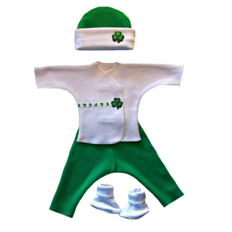 Baby Boy Preemie Newborn Luck of the Irish Clothing Set. For Premature babies, NICU Micro Preemie and Newborn.