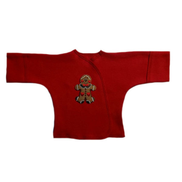 Baby Boy Gingerbread Man Red Long Sleeve Shirt with Mitten Cuffs