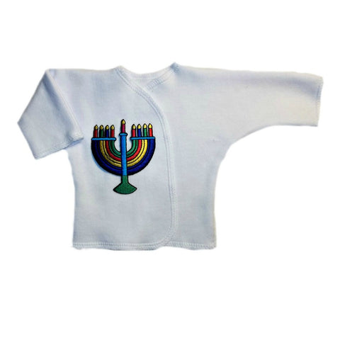 Preemie and Newborn Colorful Menorah Unisex Baby Long Sleeve Shirt