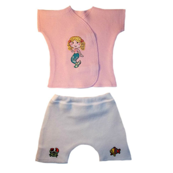 Baby Girl Summer Mermaid Shorts Set for Preemie, Premature Babies and Newborns!
