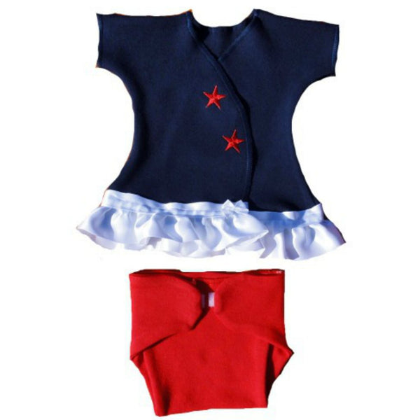 Baby Girls' Red, White & Blue Sassy Dress Sized For Preemie and Newborn Babies
