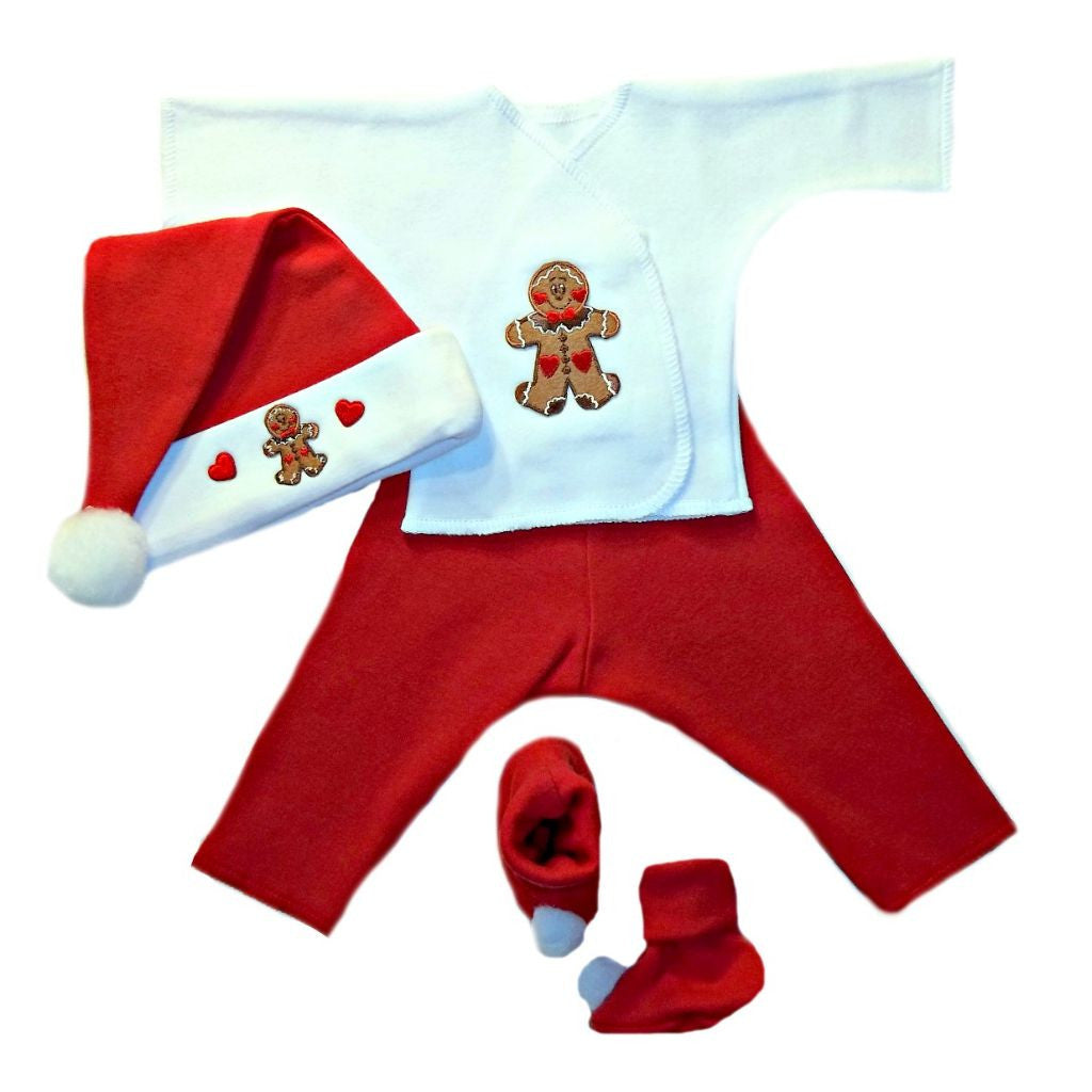baby boys gingerbread christmas baby clothing set sized for preemie and newborn babies