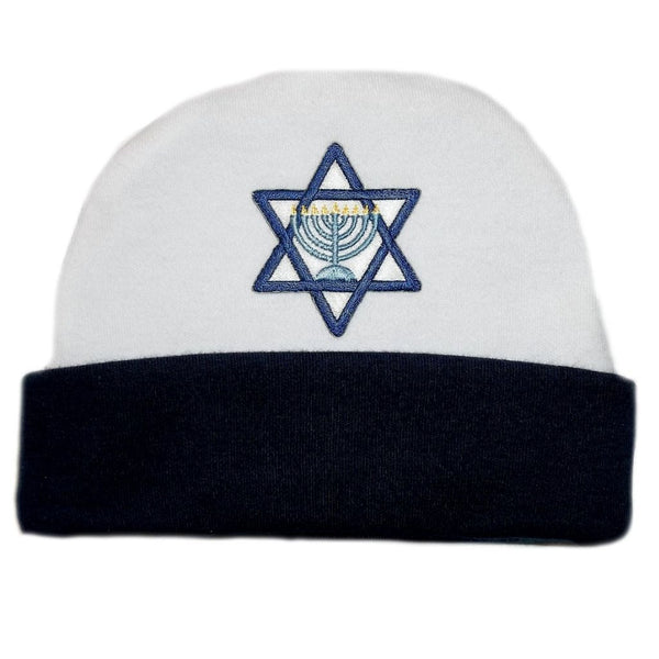 Baby Boys' Navy Blue Star of David Hanukkah Hat Sized For Preemie and Newborn Babies