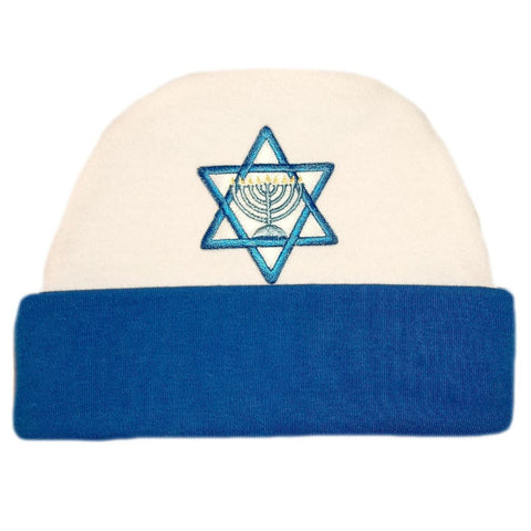 Baby Boys' Royal Blue Star of David Hanukkah Hat Sized For Preemie and Newborn Babies