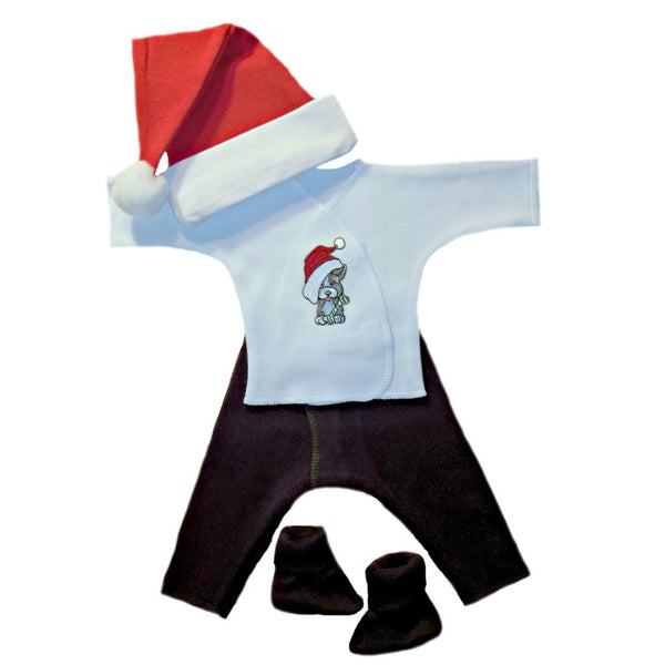 Unisex Baby Puppy's First Christmas Clothing Set Sized For Preemie and Newborn Babies