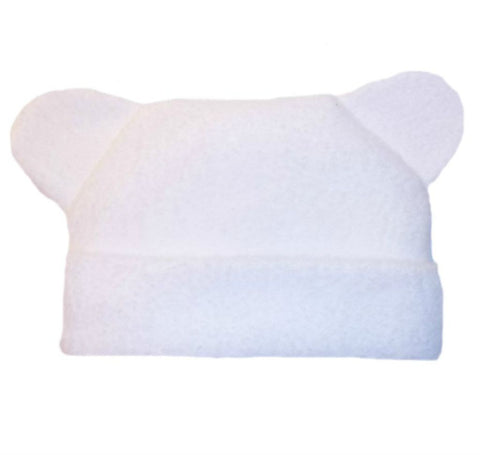 Unisex Babys' White Fleece Hat with Ears Sized For Preemie and Newborn Babies