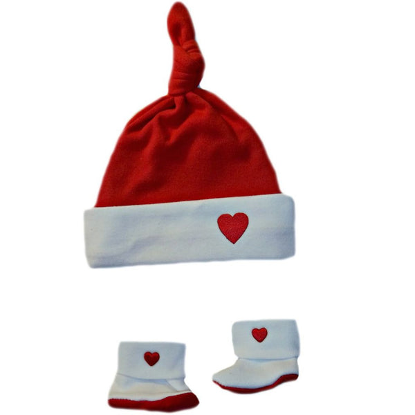 Unisex Babys' Red & White Heart Knotted Hat & Booties Sized For Preemie and Newborn Babies and Toddlers