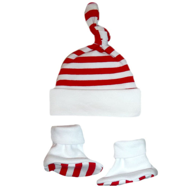 Unisex Babys' Red & White Striped Knotted Hat & Booties Set Sized For Preemie and Newborn Babies and Toddlers