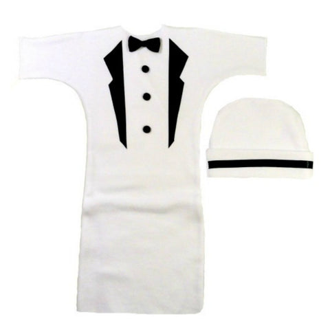 Baby Boys' White Tuxedo Bunting Gown Set Sized For Preemie and Newborn Babies
