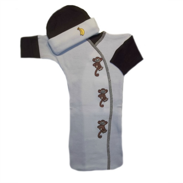 Baby Boys' Monkeying Around Bunting Gown and Hat