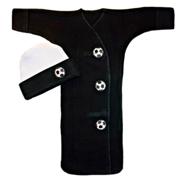 Unisex Baby Black Soccer Ball  Bunting Gown and Cap Set Sized For Preemie and Newborn Babies