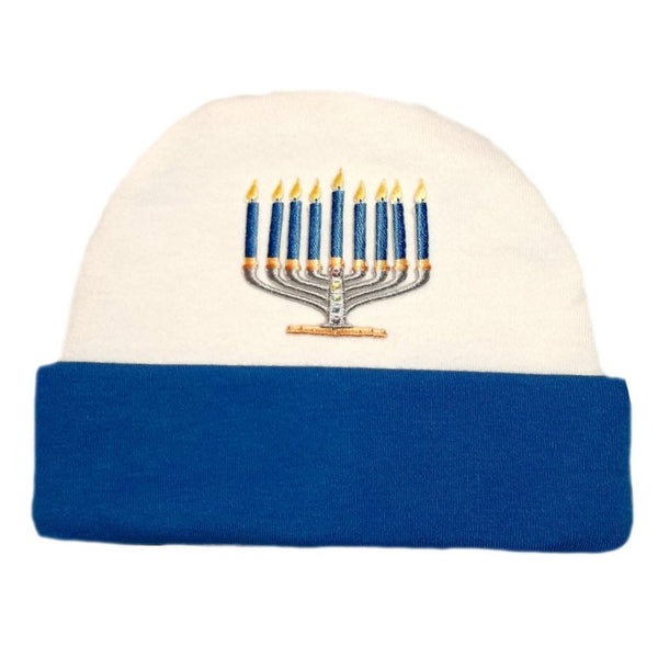 Baby Boys' Royal Blue Menorah Hanukkah Hat Sized For Preemie and Newborn Babies