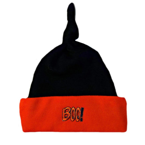 Unisex Baby BOO! Halloween Knotted Hat Sized For Preemie and Newborn Babies
