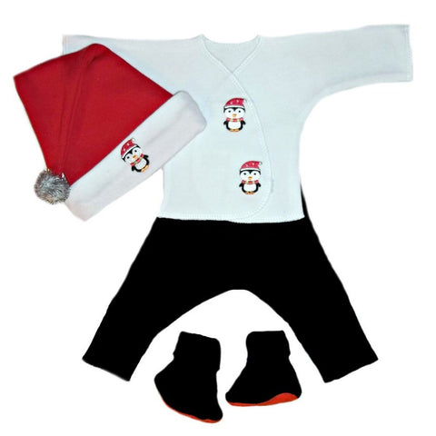 Baby Boys' Happy Penguin Christmas Clothing Set Sized for Preemie and Newborn Babies