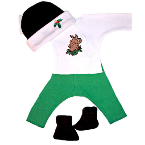 Unisex Baby Santa's Reindeer Christmas Clothing Set Sized For Preemie and Newborn Babies