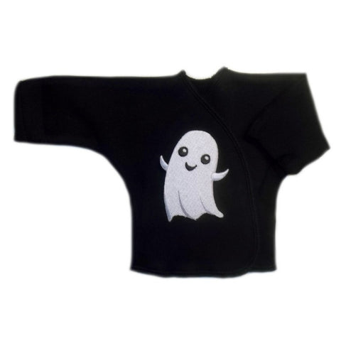 Happy Ghost Black Halloween  Long Sleeve Baby Shirt