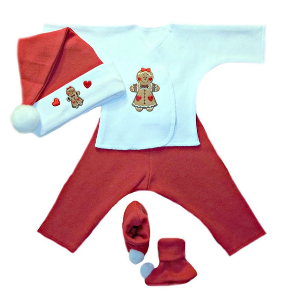 Baby Girls' Gingerbread Christmas Baby Clothing Set Sized for Preemie and Newborn Babies