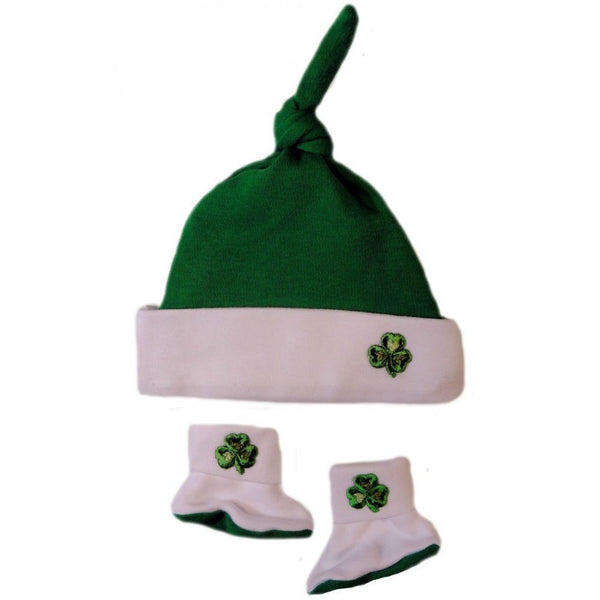 Baby Boys' Knotted Green Shamrock Hat and Booties Set Sized For Preemie and Newborn Babies