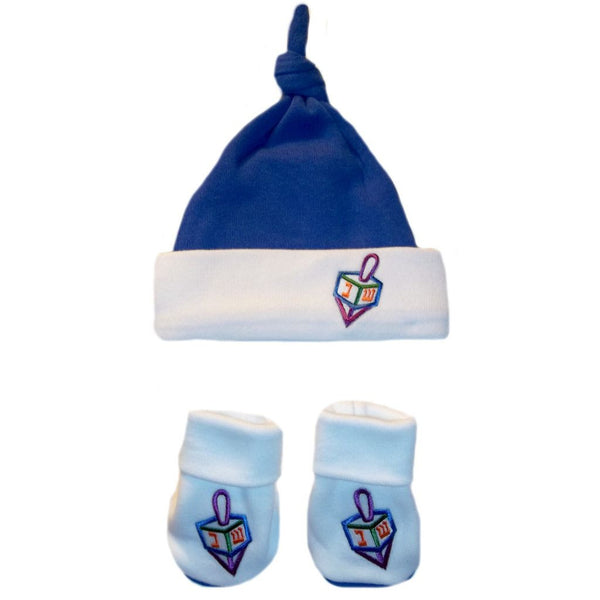 Baby Boy Darling Dreidel Hanukkah Knotted Hat & Booties Set Sized for Preemie and Newborn Babies