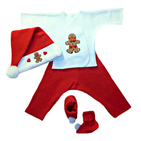 Baby Boys' Gingerbread Christmas Baby Clothing Set Sized for Preemie and Newborn Babies