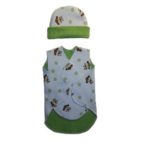 Baby Boys Playful Monkey Preemie NICU Snuggler Wrap and Hat