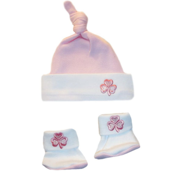 Baby Girls' Knotted Pink Shamrock Hat and Booties Set Sized For Preemie and Newborn Babies