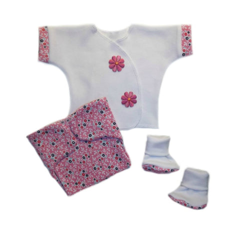 Baby Girls' Summertime Flowers Shirt, Booties and Diaper Cover Clothing Set