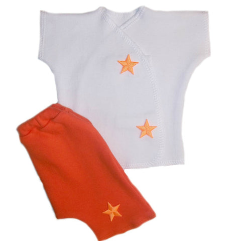 Unisex Baby Orange Neon Stars Shorts Clothing Set