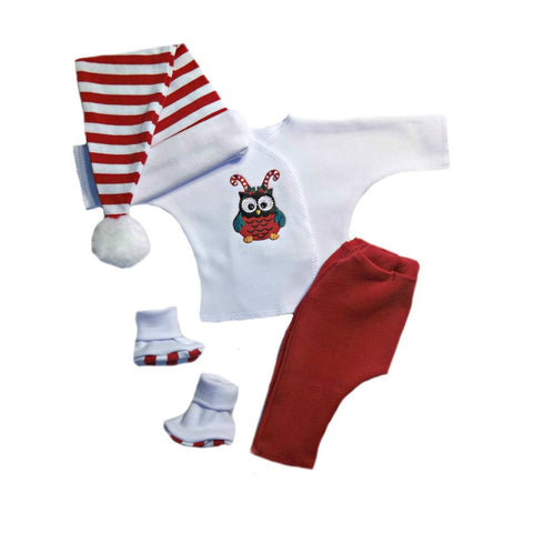 Unisex Baby Christmas Owl 4 Piece Clothing Set