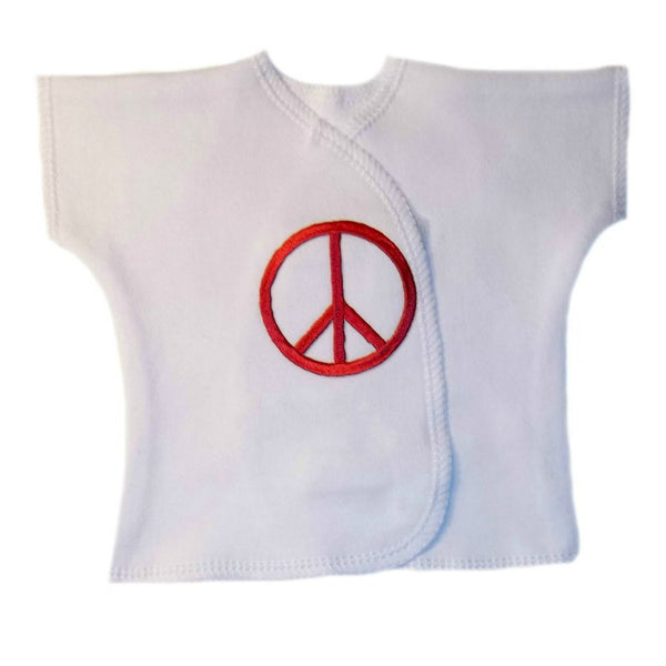 Newborn and Preemie Unisex Baby White Shirt with Peace Sign