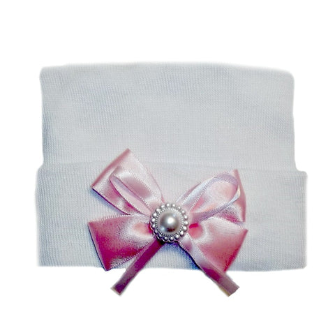 White Baby Girl Hospital Hat with Pink Bow and Pearl