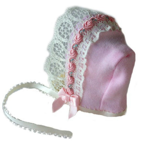 Baby Girls' Lovely Pink & Ivory Lace Bonnet Sized For Preemie and Newborn Babies