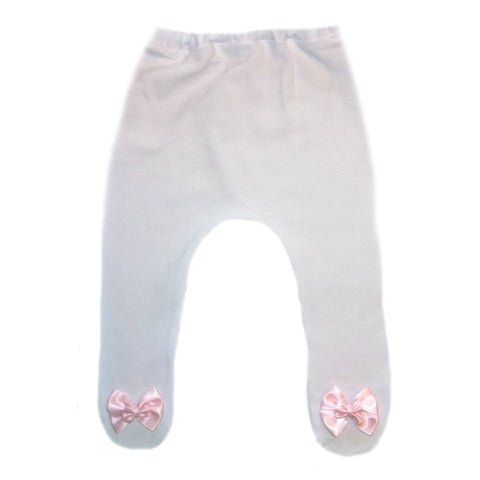 Baby Girl White Tights with Pretty Pink Double Bow