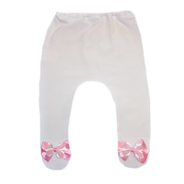 Baby Girl White Tights with Pink Organza Double Bow