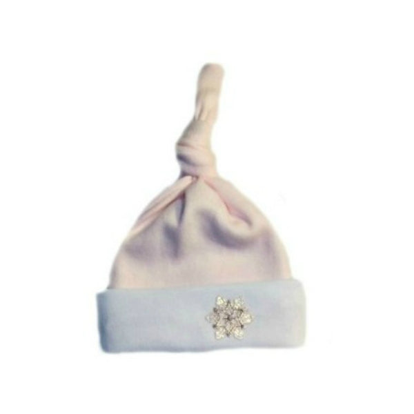 Baby Girls' Pink Snowflakes Knotted Hat