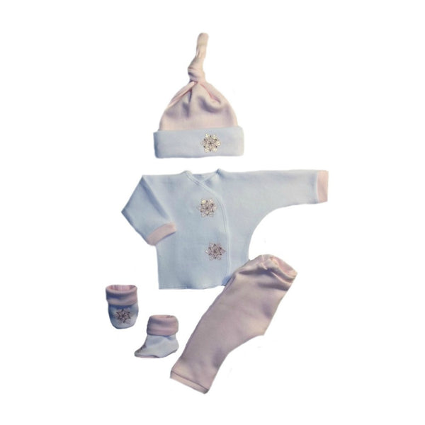 Preemie and Newborn Baby Boys' Blue Snowflake 4 Piece Clothing Outfit