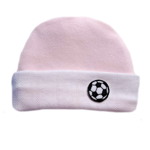 Newborn and Preemie Baby Girl Pink Soccer Ball Hat.