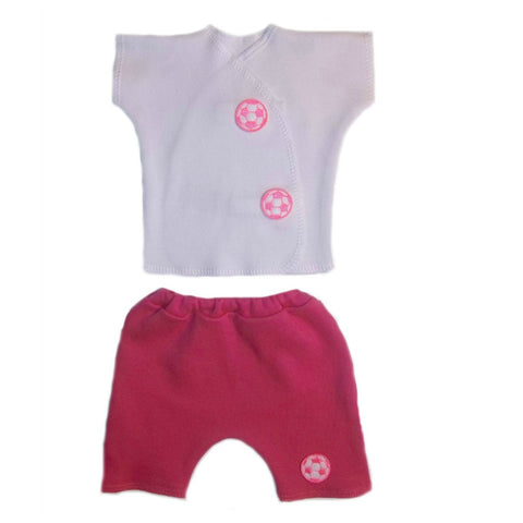 Baby Girls' Pink Neon Soccer Ball Shorts Clothing Set