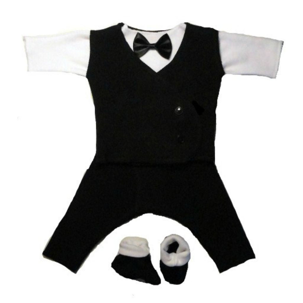 ce805bc88fee0 Black & White Baby Boy Suit - Black Vest for the tiniest preemies to the  newborn