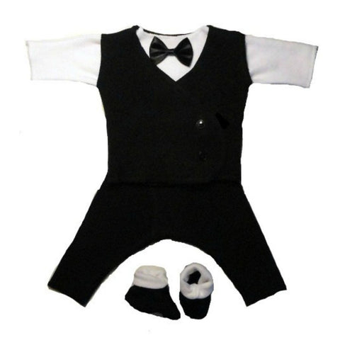 Black & White Baby Boy Suit - Black Vest for the tiniest preemies to the newborn sizes