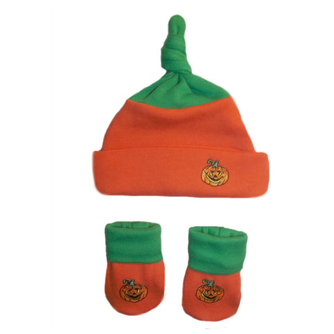 Pumpkin Baby Hat and Booties Preemie Newborn