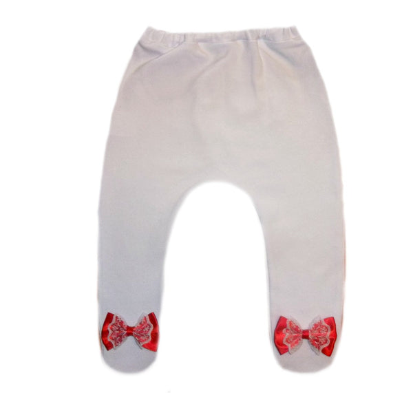 Baby Girl White Tights with Red and White Lace Bows