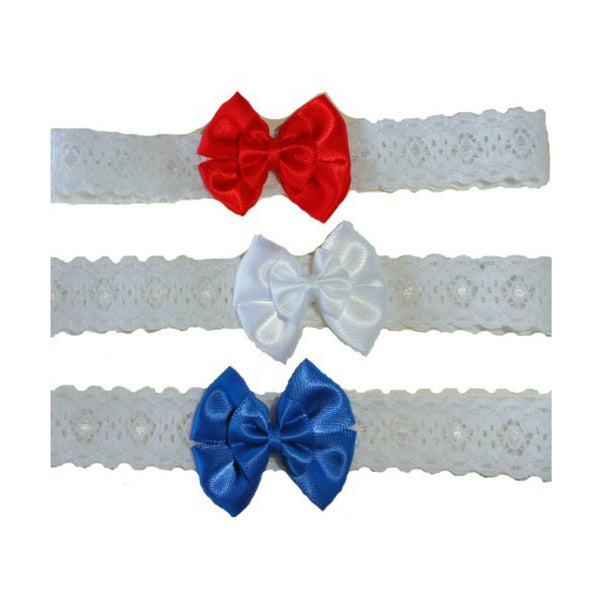 Baby Girls' Double Bow USA Headbands, Red, White & Blue Sized For Preemie and Newborn Babies