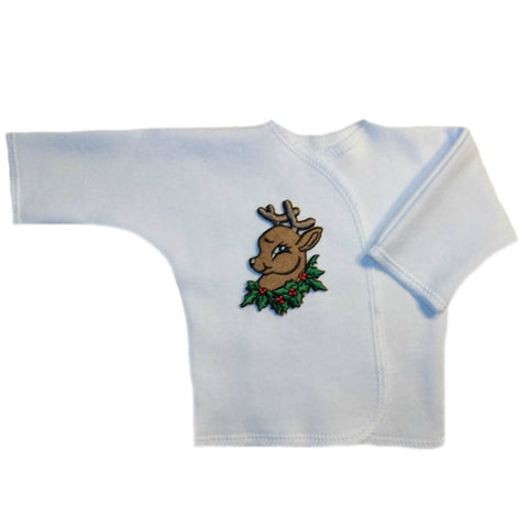 Santa's Reindeer Baby Boy White Long Sleeve Shirt